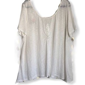 Madison & Berkley Off White Crochet Back Tunic 3X